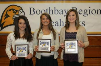 Field hockey plaque winners, from left, Tori Schmid, Most Valuable; Brooke Alley, Coaches Award; and Erica Eames, Most Improved. KEVIN BURNHAM/Boothbay Register
