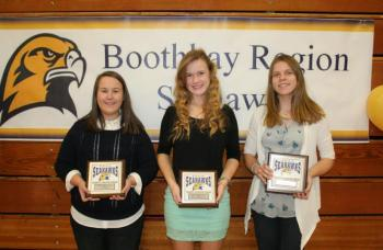 Girls soccer plaque winners, from left, Evy Greenleaf, Coaches Award; Sinead Miller, Most Valuable; and Lisa Pawlowski, Most Improved. KEVIN BURNHAM/Boothbay Register