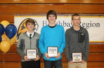 Boys cross-country plaque winners, from left, Robert Campbell, Coaches Award; Jack Hasch, Most Improved; Benn Scully, Most Valuable. KEVIN BURNHAM/Boothbay Register