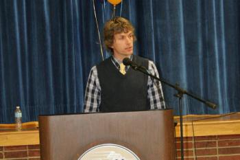 Cross-country Coach Nick Scott gives his spotlight speech at Tuesday's sports awards. KEVIN BURNHAM/Boothbay Register